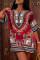 Red Fashion Casual Print Basic O Neck Short Sleeve Dress