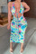 Green Fashion Sexy Print Tie Dye Hollowed Out Backless Halter Sleeveless Dress