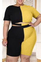 Black Yellow British Style Patchwork Cut Out O Neck Plus Size Two Pieces