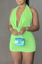 Fluorescent Green Celebrities Solid Backless Fold Halter Pleated Dresses