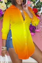 Orange Yellow Casual Print Split Joint Turndown Collar Tops