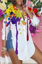 Colour Casual Print Split Joint Turndown Collar Tops