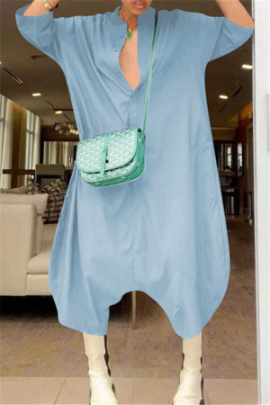 Baby Blue Fashion Casual Solid Basic V Neck Loose Jumpsuits