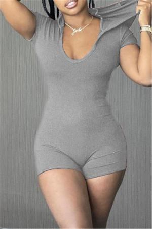 Grey Fashion Casual Solid Basic Hooded Collar Skinny Romper