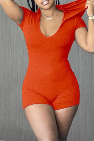Orange Fashion Casual Solid Basic Hooded Collar Skinny Romper