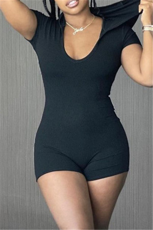 Black Fashion Casual Solid Basic Hooded Collar Skinny Romper