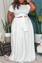 White Fashion Casual Solid Basic O Neck Plus Size Two Pieces