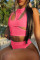 Pink Sexy Solid Hollowed Out Backless O Neck Sleeveless Two Pieces