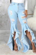 Baby Blue Fashion Casual Solid Ripped Asymmetrical High Waist Regular Jeans