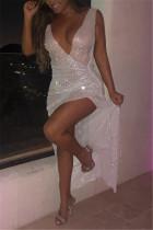 SilverWhite Fashion Sexy Deep V Perspective Dress