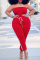 Red Casual Solid Split Joint Strapless Plus Size Jumpsuits