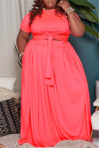 Fluorescent Pink Fashion Casual Solid Basic O Neck Plus Size Two Pieces