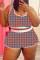 Orange Fashion Casual Print Vests U Neck Plus Size Two Pieces