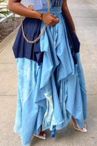Light Blue Fashion Casual Plaid Print Split Joint Regular High Waist Skirt