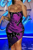 Purple Fashion Sexy Print Split Joint Backless Spaghetti Strap Irregular Dress
