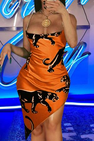 Gold Fashion Sexy Print Split Joint Backless Spaghetti Strap Irregular Dress