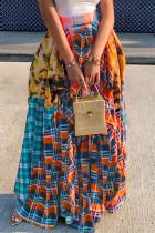 Orange Fashion Casual Plaid Print Split Joint Regular High Waist Skirt