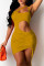 Earth Yellow Fashion Sexy Solid Hollowed Out Backless One Shoulder Sleeveless Dress