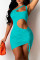 Lake Blue Fashion Sexy Solid Hollowed Out Backless One Shoulder Sleeveless Dress