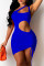 Peacock Blue Fashion Sexy Solid Hollowed Out Backless One Shoulder Sleeveless Dress
