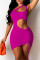 Purple Fashion Sexy Solid Hollowed Out Backless One Shoulder Sleeveless Dress