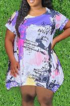 Purple Fashion Casual Plus Size Print Basic O Neck Short Sleeve Dress