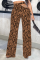 Coffee Sexy Animal Print Print Hollowed Out Straight Mid Waist Speaker Full Print Bottoms