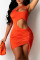 Orange Fashion Sexy Solid Hollowed Out Backless One Shoulder Sleeveless Dress