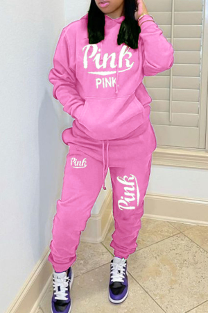 Pink Casual Letter Print Hooded Collar Long Sleeve Two Pieces