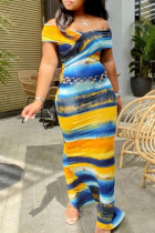Gold Fashion Casual Print Backless Off the Shoulder Short Sleeve Dress