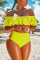 Yellow Sexy Hollowed-out Blends Bikinis