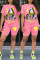 Pink Fashion Casual Print Basic O Neck Plus Size Two Pieces