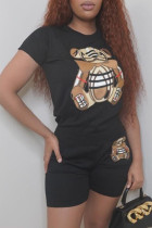 Black Casual Animal Print Split Joint O Neck Short Sleeve Two Pieces