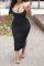 Black Casual Solid Split Joint Spaghetti Strap Pencil Skirt Plus Size Dresses