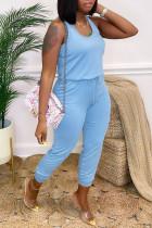 Light Blue Fashion Casual Solid Basic O Neck Regular Jumpsuits