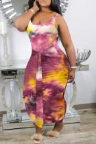 Light Purple Sexy Casual Plus Size Tie Dye Printing U Neck Vest Dress