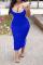 Blue Casual Solid Split Joint Spaghetti Strap Pencil Skirt Plus Size Dresses