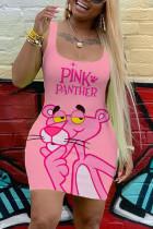 Pink Sexy Fashion Print Sleeveless Dress