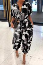 Black Fashion Casual Camouflage Print Basic Turndown Collar Regular Jumpsuits