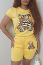 Yellow Casual Animal Print Split Joint O Neck Short Sleeve Two Pieces