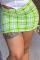 Fluorescent Green Sexy Plaid Split Joint Skinny Mid Waist Straight Full Print Bottoms