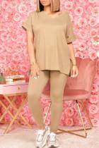 Khaki Fashion Casual Solid Beading V Neck Short Sleeve Two Pieces