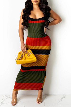 Red Fashion Sexy Print Backless Spaghetti Strap Sleeveless Dress