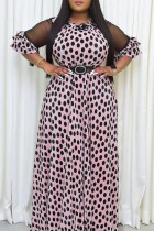 Light Pink Sweet Print Split Joint O Neck A Line Plus Size Dresses