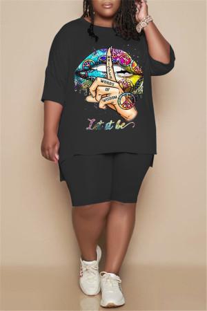 Black Fashion Casual Print Slit O Neck Plus Size Two Pieces