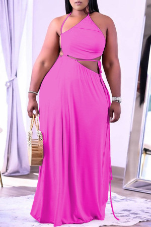 Pink Sexy Solid Frenulum Backless Asymmetrical Halter Straight Plus Size Dresses