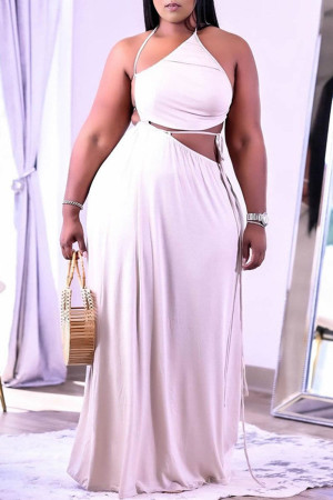 White Sexy Solid Frenulum Backless Asymmetrical Halter Straight Plus Size Dresses