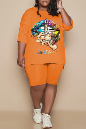 Orange Fashion Casual Print Slit O Neck Plus Size Two Pieces