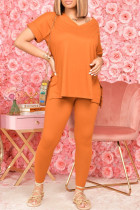 Orange Fashion Casual Solid Beading V Neck Short Sleeve Two Pieces