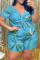 Light Blue Fashion Casual Print Basic V Neck Plus Size Short Sleeve Romper